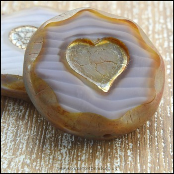 Czech Glass Picasso Heart Coin Beads - Vintage Lilac