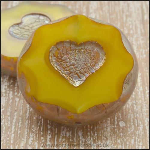 Czech Glass Picasso Heart Coin Beads - Mustard