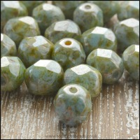 Czech Glass Faceted Fire Polished Beads 6mm Deep Mint Lustre