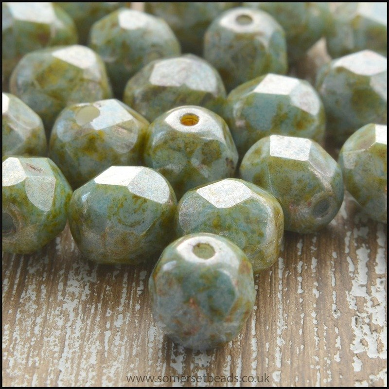 Czech Glass Faceted Fire Polished Beads 6mm Deep Mint Lustre