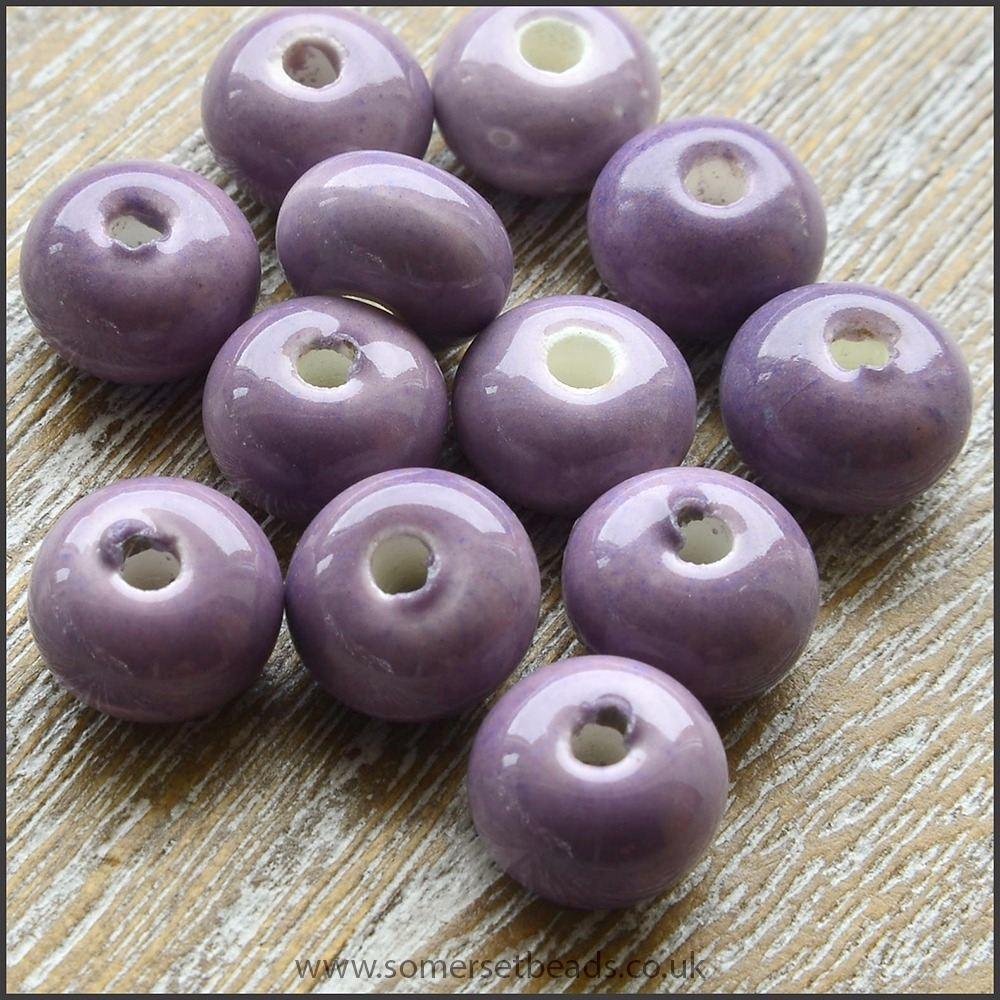 Glazed Ceramic Rondelle Beads 8mm x 5mm - Purple