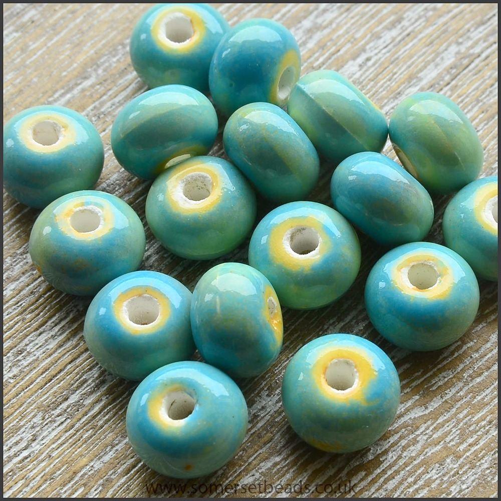 Glazed Ceramic Rondelle Beads 8mm x 5mm - Sea Green