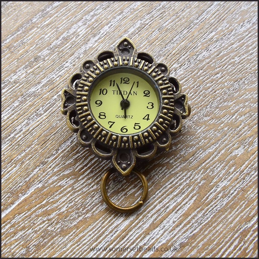 Fancy Round Bronze Watch Face For Jewellery Making