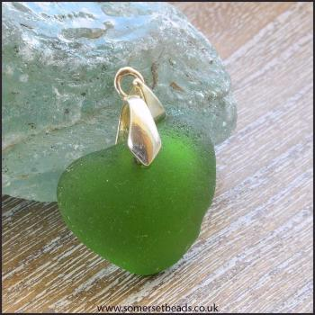 Green Sea Glass Heart Pendant - E