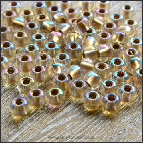 Preciosa Czech Glass Seed Beads - Crystal AB Gold Lined