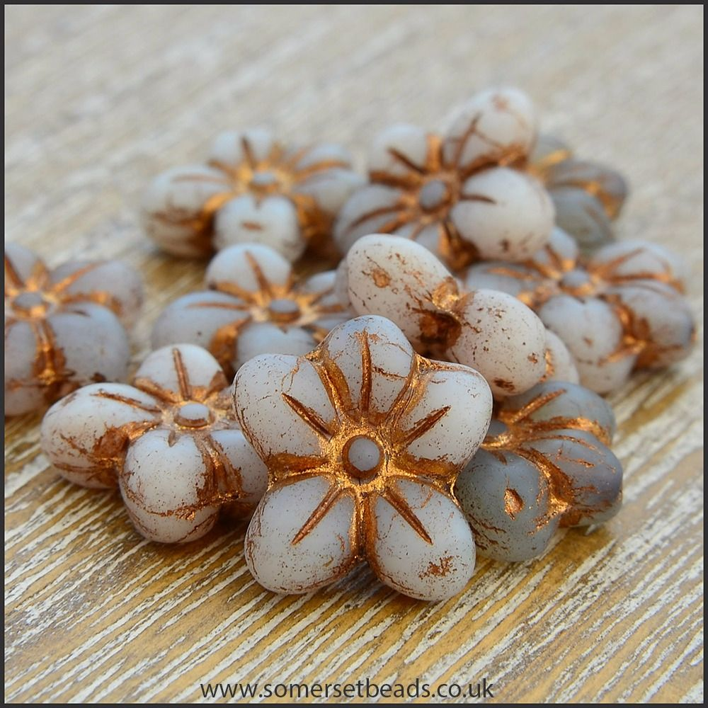 Czech Glass Pressed Puffy Flower Bead - Light Grey Mix