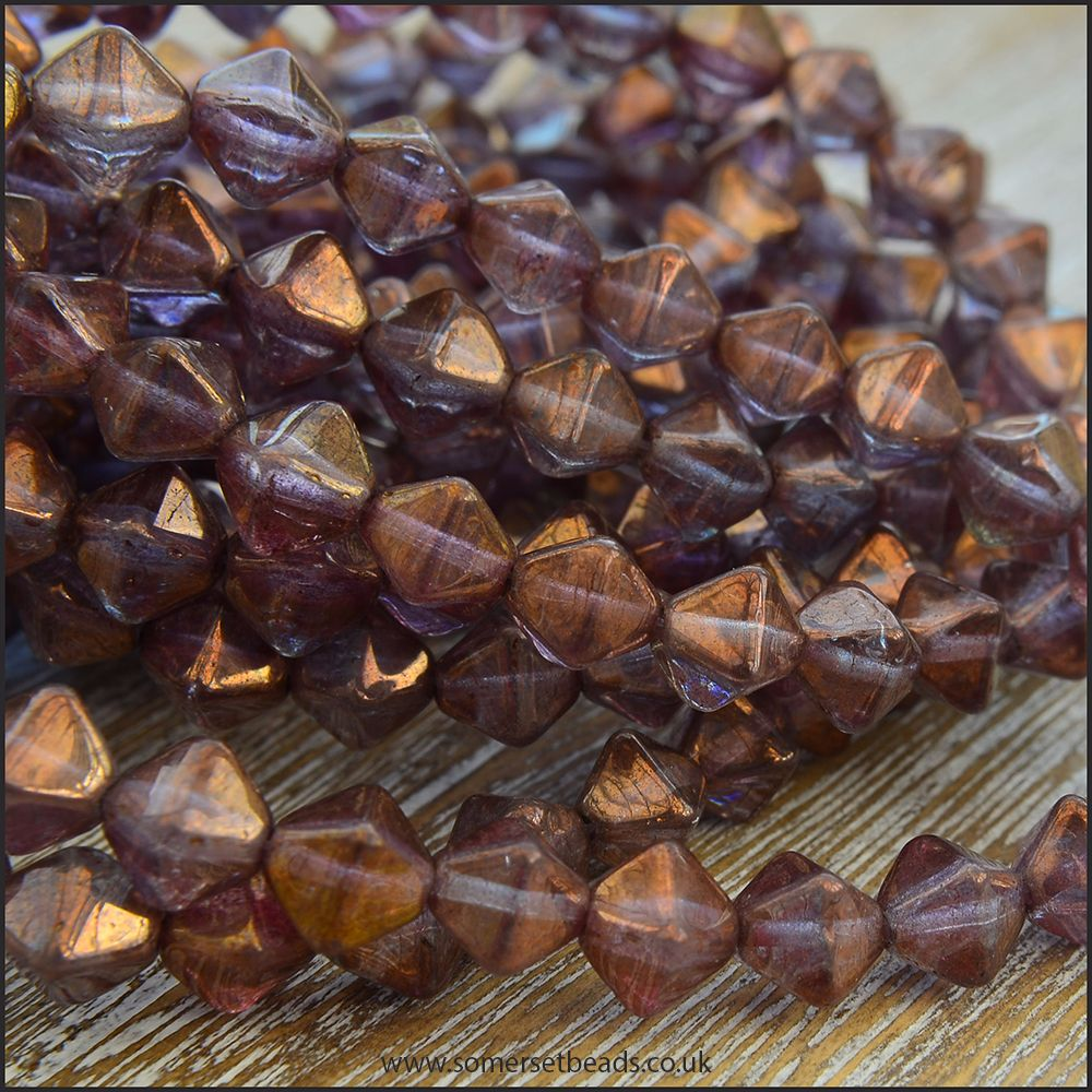 Czech Glass Bicone Beads 6mm - Amethyst Luster