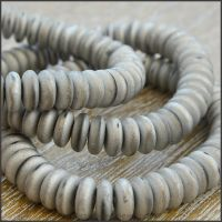 Czech Glass Disc Beads 6mm - Matte Silver