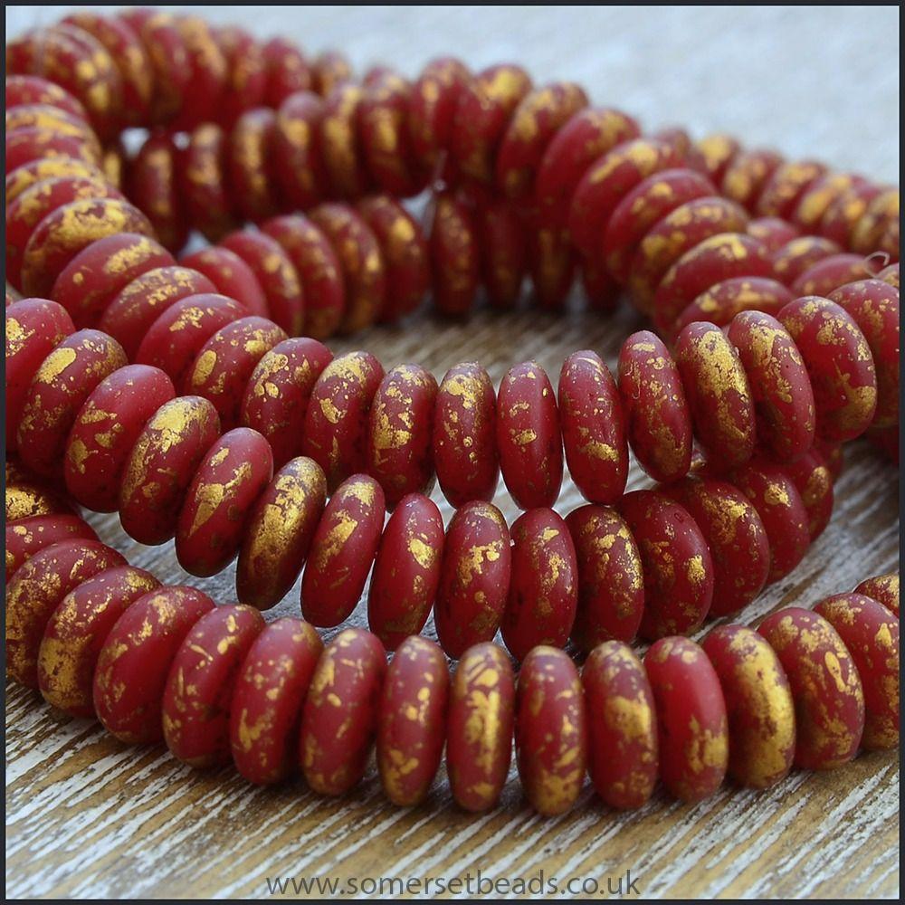 Czech Glass Disc Beads 6mm - Matte Red With Gold Rain Finish