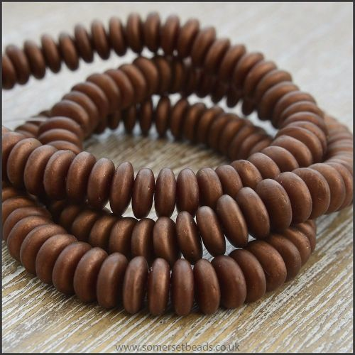 Czech Glass Disc Beads 6mm - Matte Chocolate Bronze