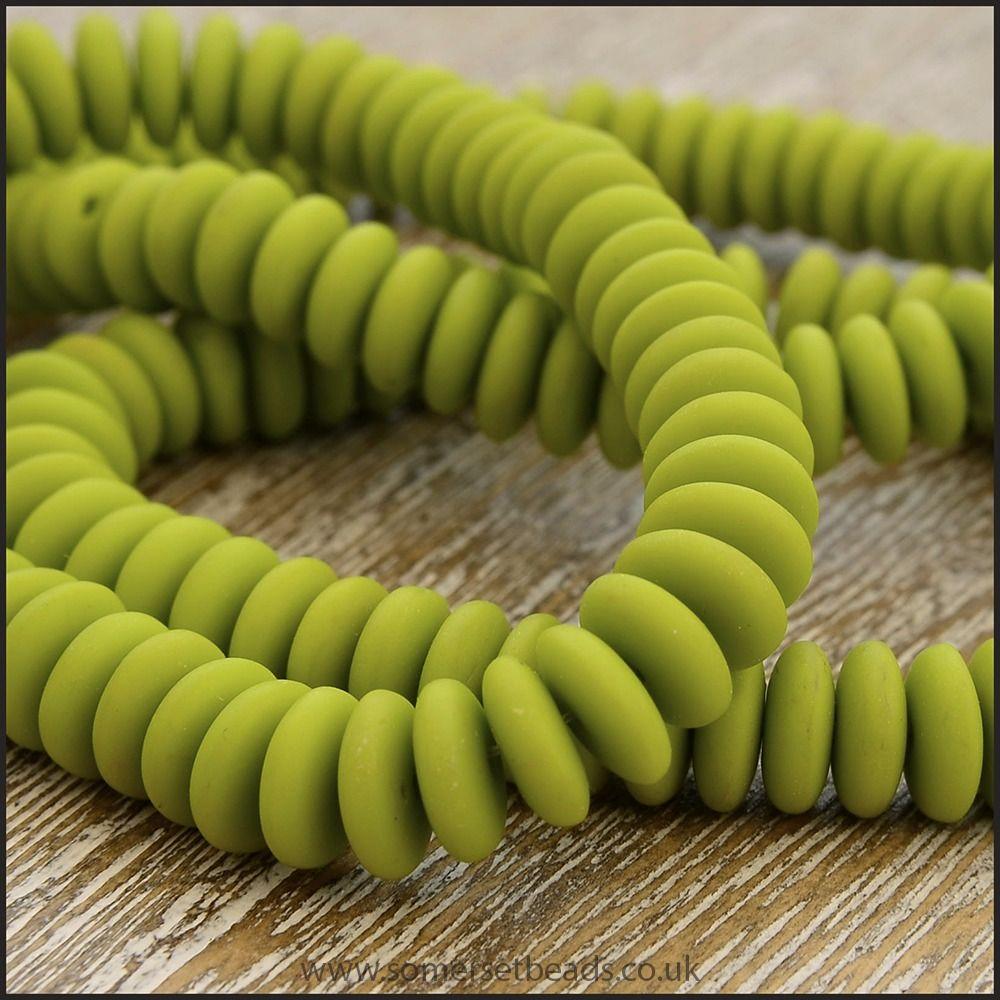 Czech Glass Disc Beads 6mm - Matte Chartreuse