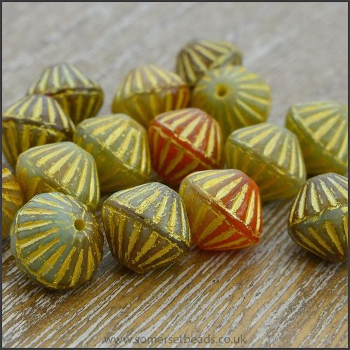 Czech Glass Etched Bicone Beads - 10mm - Autumn Mix