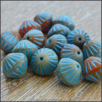 Czech Glass Etched Bicone Beads - 10mm - Blue & Orange Mix