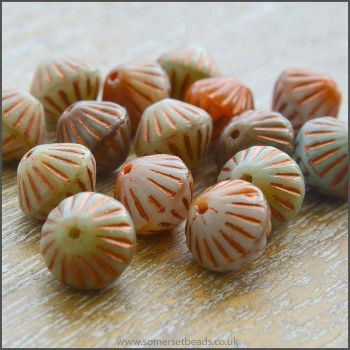Czech Glass Etched Bicone Beads - 10mm - Copper