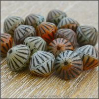 Czech Glass Etched Bicone Beads - 10mm - Dark