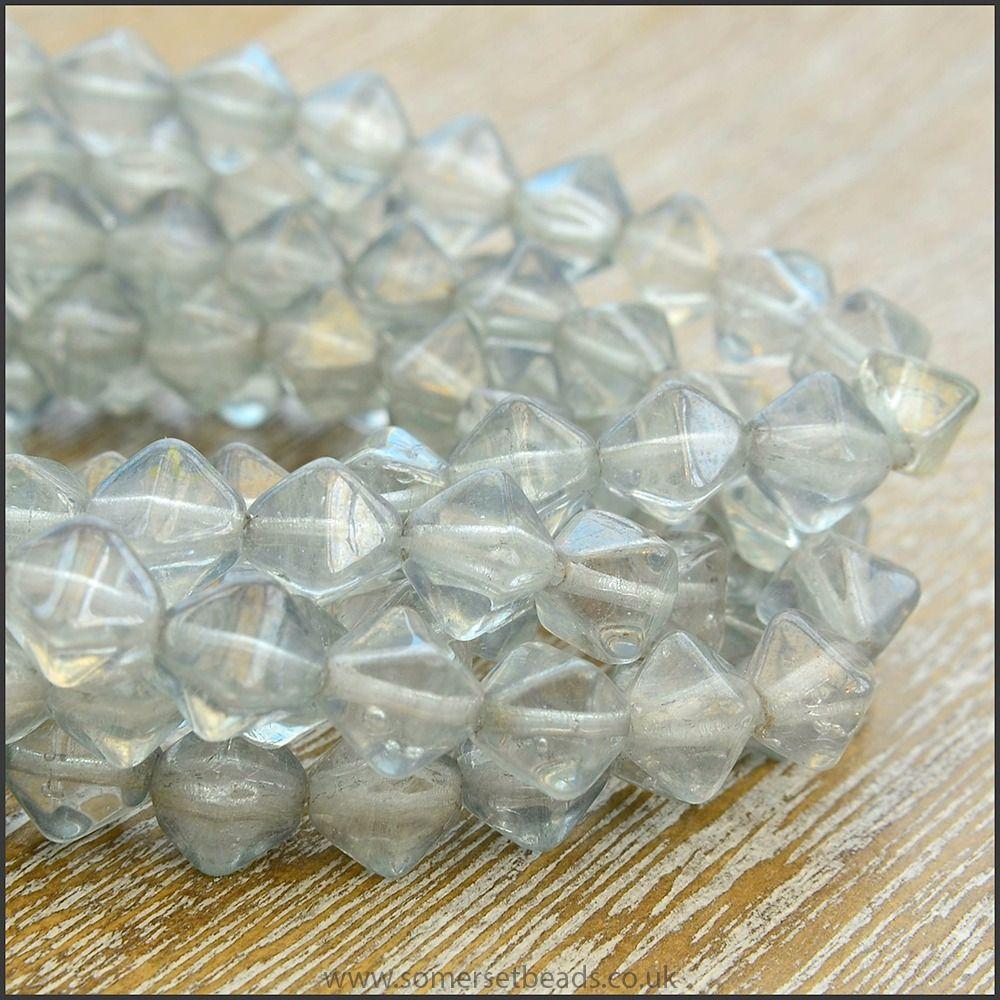 Czech Glass Bicone Beads 6mm - Grey