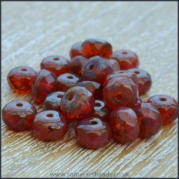 Czech Glass Faceted Picasso Rondelle Beads - Merlot 7mm x 5mm