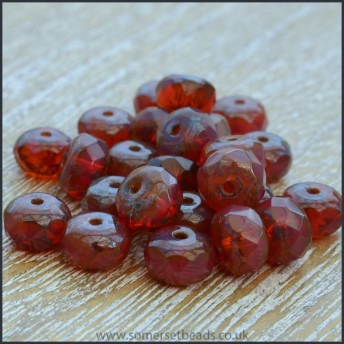 Czech Glass Faceted Picasso Rondelle Beads - Merlot