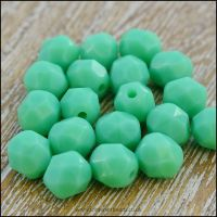 Czech Glass Faceted Fire Polished Beads 6mm - Opaque Turquoise