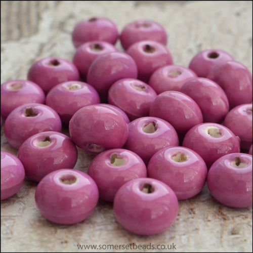 Glazed Ceramic Rondelle Beads 8mm x 5mm Orchid