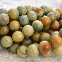 Natural Silver Leaf Jasper Semi Precious 8mm Plain Round Beads