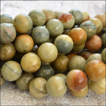 Natural Silver Leaf Jasper Semi Precious 8mm Plain Round Beads