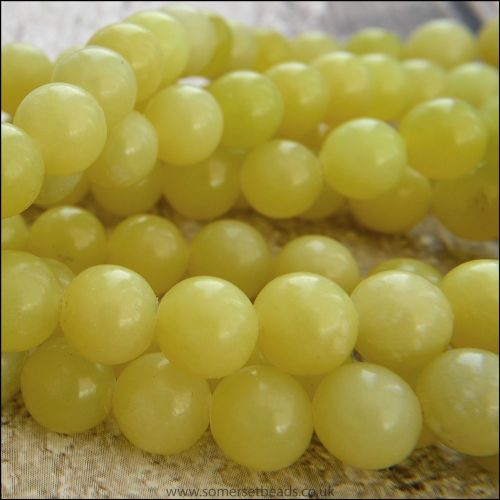 Natural Lemon Jade Semi Precious 8mm Plain Round Beads