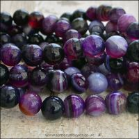 8mm Purple  Banded Agate Plain Round Beads