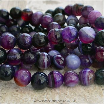 8mm Striped Purple Agate Plain Round Beads