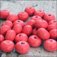 Glazed Ceramic Rondelle Beads 8mm x 5mm Pink