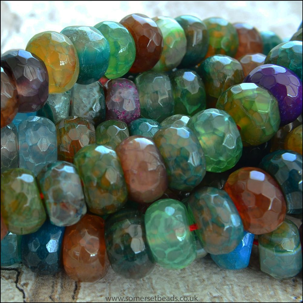 Multi Coloured Dyed Faceted Agate Rondelle Beads