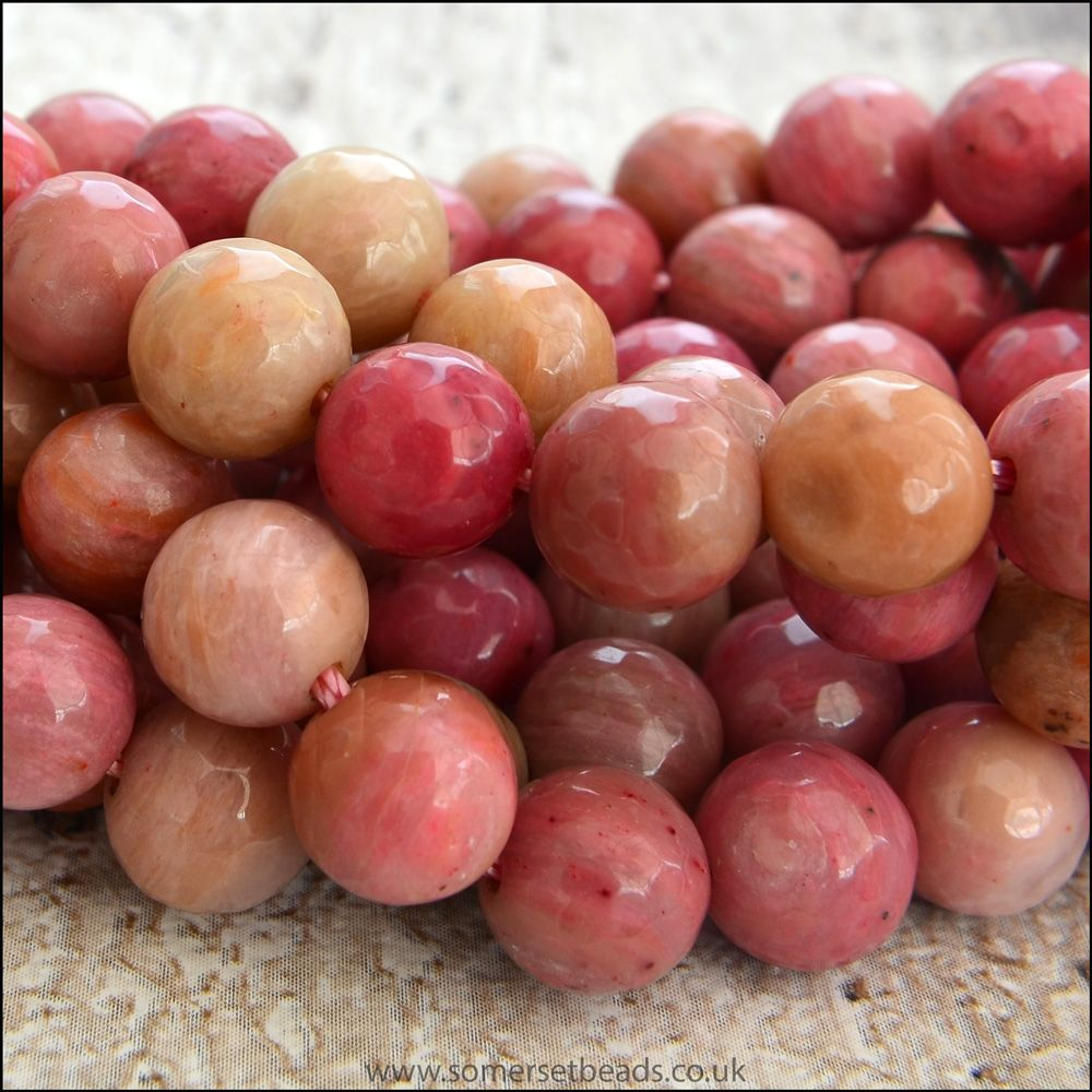 Rhodochrosite 8mm Faceted Semi Precious Round Beads