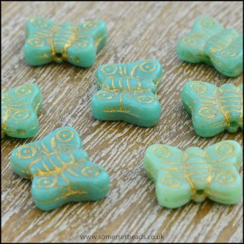 Czech Glass Butterfly Beads - Turquoise Mix
