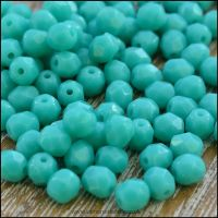 Czech Glass Faceted Fire Polished Beads 4mm - Opaque Turquoise