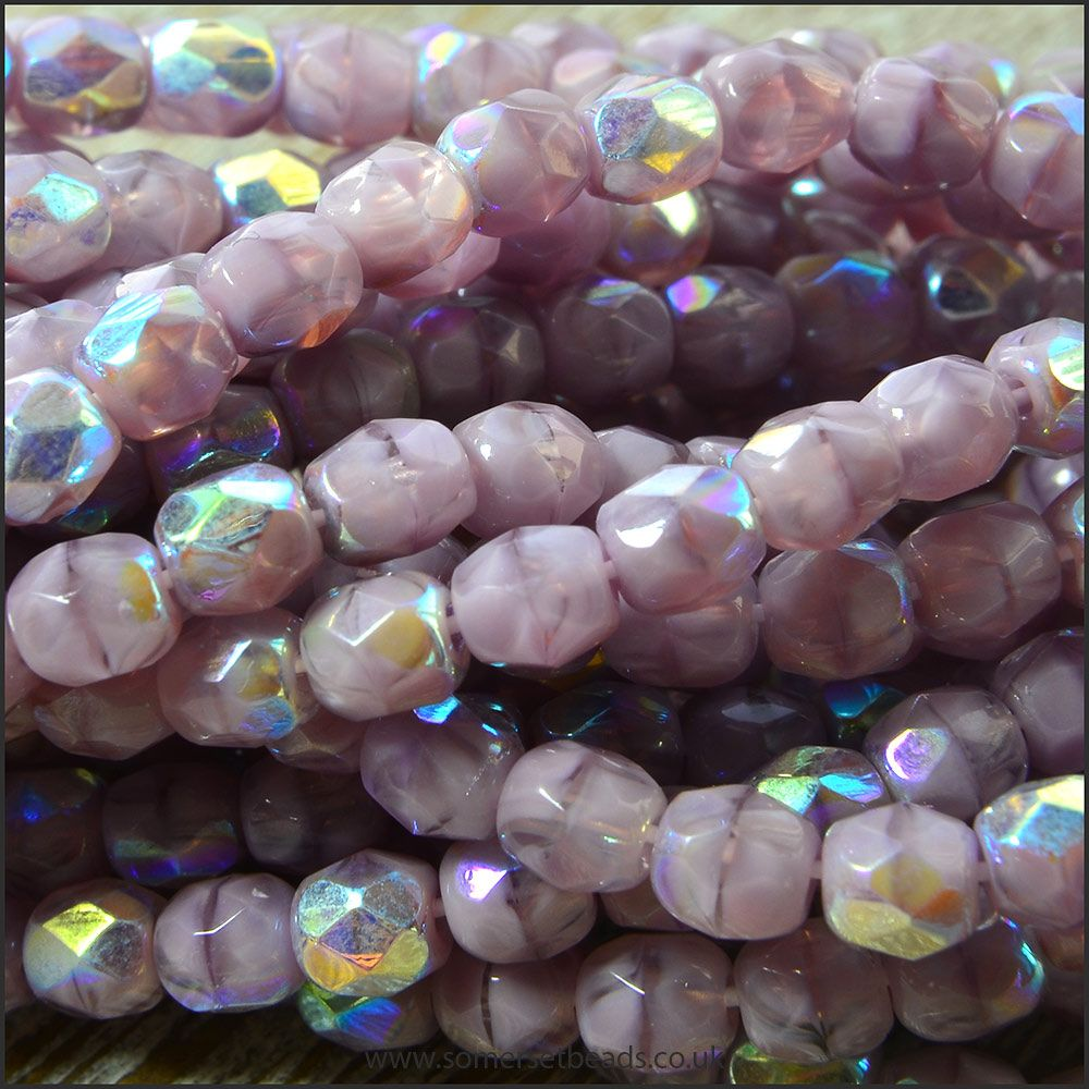 Czech Glass Faceted Fire Polished Beads 4mm Lilac AB
