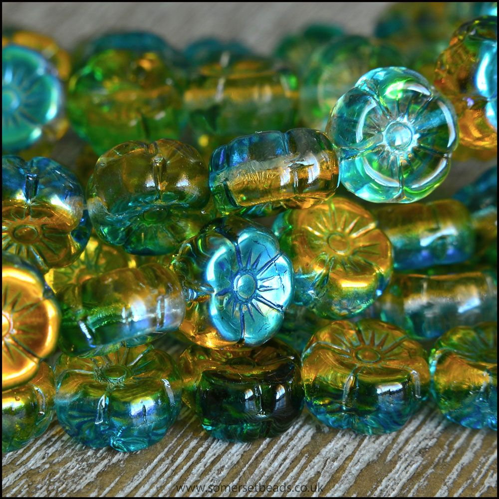 Czech Glass Hawaiian Flower Beads Green, Blue & Gold Vitrail Mix 8mm