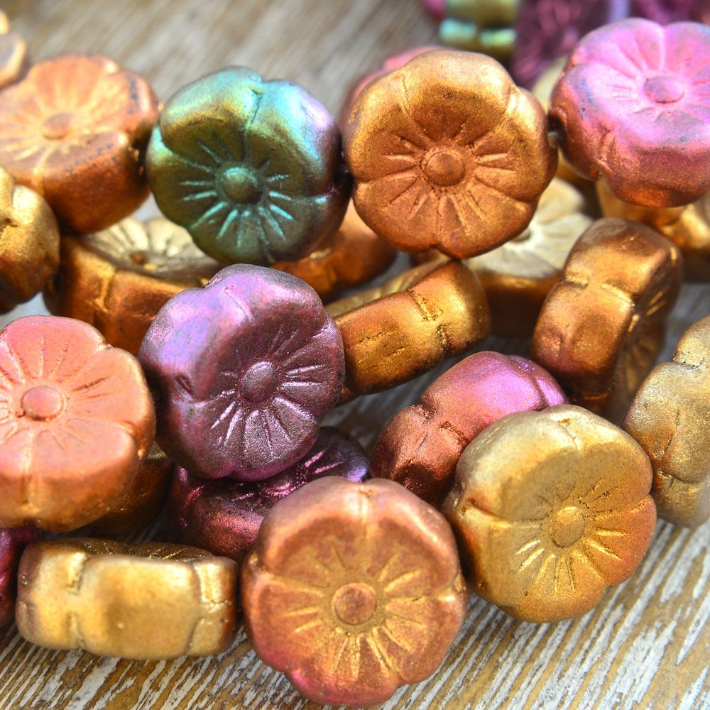 Czech Glass Hawaiian Flower Beads Matte Multi Mix 12mm