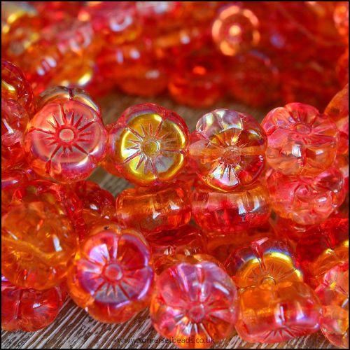 Czech Glass Hawaiian Flower Beads Orange & Gold Vitrail Mix 12mm