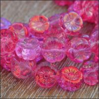 Czech Glass Hawaiian Flower Beads Pink Vitrail Mix 8mm