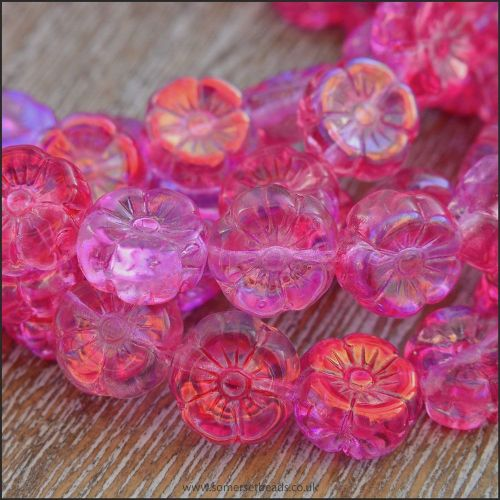Czech Glass Hawaiian Flower Beads Pink Vitrail Mix 8mm