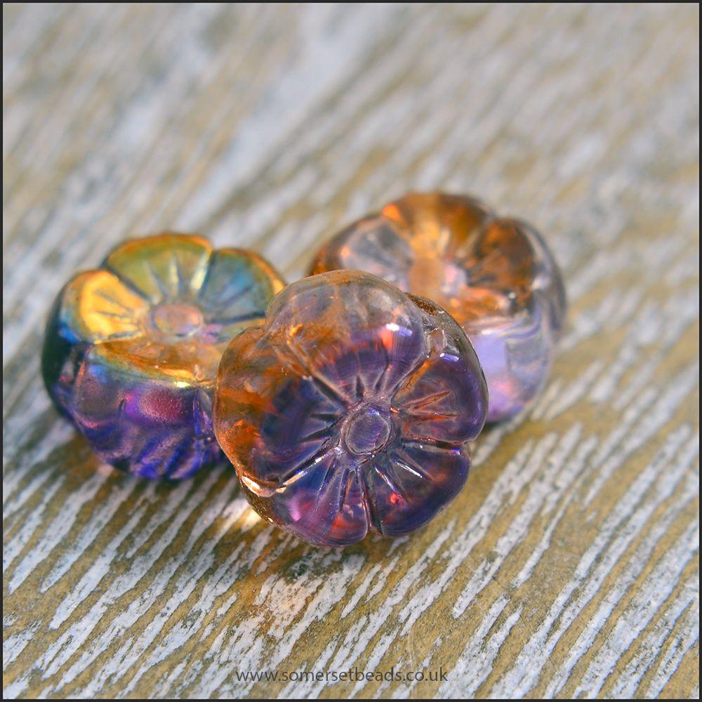 Czech Glass Hawaiian Flower Beads Purple & Gold Vitrail Mix 8mm
