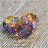 Czech Glass Hawaiian Flower Beads Purple & Gold Vitrail Mix 8mm