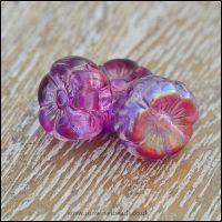 Czech Glass Hawaiian Flower Beads Purple, Pink & Orange Vitrail Mix 8mm