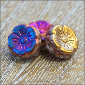 Czech Glass Hawaiian Flower Beads Vitrail Bright Mix