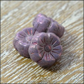 Czech Glass Hawaiian Lustre Flower Beads 8mm Purple Copper