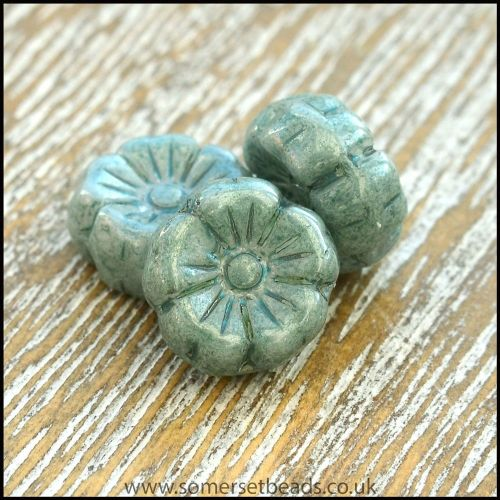 Czech Glass Hawaiian Lustre Flower Beads 8mm Sage