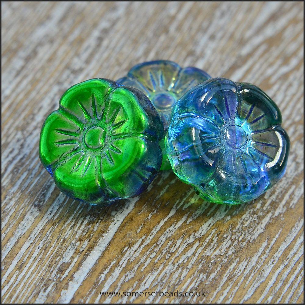 Green and Blue Vitrail Czech Glass Hawaiian Flower Beads