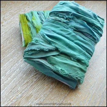 Aqua Sari Silk Ribbon