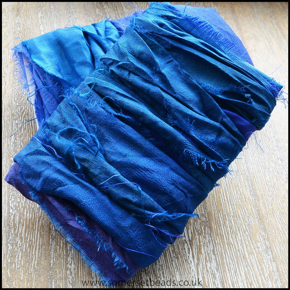 Azure Sari Silk Ribbon