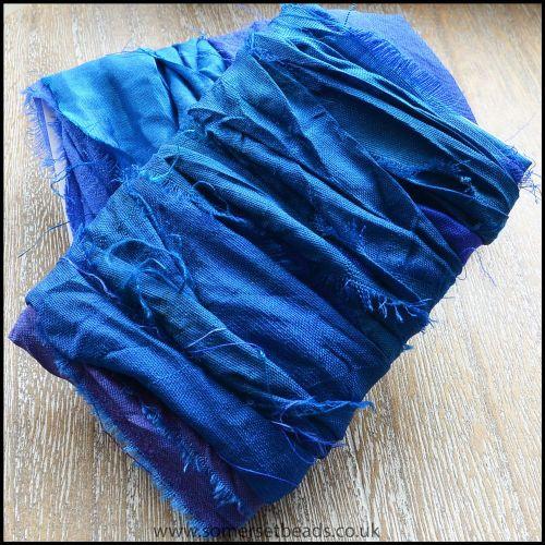 Azure Sari Silk Ribbon